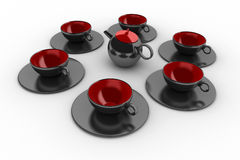 Coffee cups and teapot Royalty Free Stock Photography