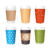Coffee Cups Template Set. Vector Royalty Free Stock Photos