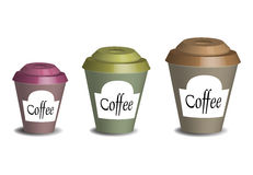 Coffee cups. Three coffee cups  on white background Stock Photo