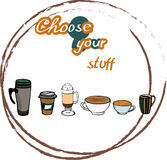 Coffee cups to choose. Coffee container, glass, coffee to go, mugs. Coffee stain vector illustration Royalty Free Stock Photography