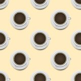 Coffee cups top view realistic 3d seamless pattern background  Stock Image