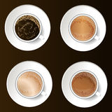 Coffee cups top view vector illustration. Stock Image