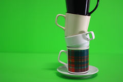 Coffee cups tower Stock Photo
