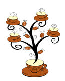 Coffee cups tree 1 Royalty Free Stock Image