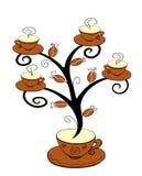 Coffee cups tree 1. Coffee cups tree series. Tree on white background. Vector illustration Royalty Free Stock Image