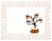 Coffee cups tree 2. Coffee cups tree series. Tree on white background. In a framework. Vector illustration Stock Photography
