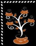 Coffee cups tree 3. Coffee cups tree series. Tree on black background. Vector illustration Royalty Free Stock Photos