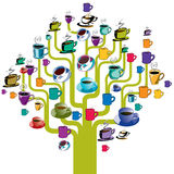Coffee cups tree. Abstract illustration of a tree with coffee cups instead of leaves. Vector format available Stock Photos