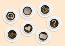 Coffee cups with various milk ornaments. Bitmap illustration of six coffee cups with various white milk ornaments - heart, leaf, circle, question mark Stock Photo