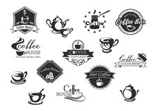 Coffee cups vector icons for cafeteria or cafe Stock Images