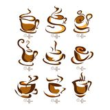 Coffee cups vector illustration. on white background. label. menu.  royalty free illustration
