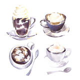 Coffee cups watercolor  sketch. Royalty Free Stock Photography