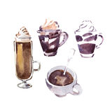 Coffee cups watercolor  sketch. Stock Image