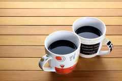 Coffee Cups. On Wooden Background Stock Photos