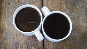 Coffee cups. On wooden board Stock Images