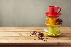 Coffee cups on wooden table with copy space Royalty Free Stock Photo