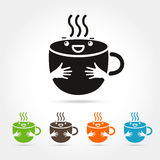 Coffee cute cup logo design elements Stock Photo