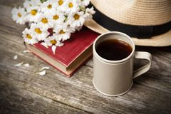 Coffee, daisies and a book Stock Image