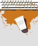Coffee and damaged keyboard vector illustration