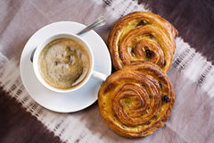 Coffee and danish pastry. Cup of coffee and danish pastry Stock Images