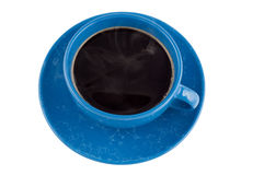 Coffee in the dark blue marble cup. Royalty Free Stock Image