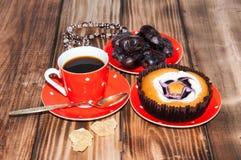 Coffee dates cake and crystal sugar navat Royalty Free Stock Image