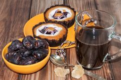 Coffee dates cake and crystal sugar navat Stock Images