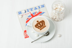 Coffee Decorated With Queen Crown. British Symbol Paper Napkin. Royalty Free Stock Images