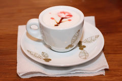 Coffee with decoration on the foam Stock Image