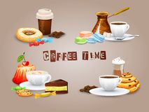 Coffee Decorative Icons Set. With drink and sweet desserts isolated vector illustration Stock Photography