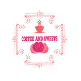 Coffee decorative icons set with drink and sweet desserts  vector illustration. Coffee decorative icons set with drink and sweet desserts isolated vector Stock Photography