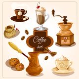 Coffee decorative set Royalty Free Stock Image