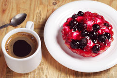 Coffee and delicious cake with currants Stock Photos