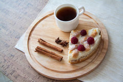 Coffee and delicous cheese quiche. Delicious cottage cheese quiche on plate Stock Photography