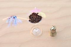 Coffee on the desert dunes Royalty Free Stock Photo