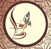 Coffee design with beans frame and butterfly Royalty Free Stock Photo