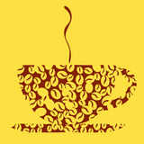 Coffee Design - Illustration. Coffee-cup with the image of coffee grains Royalty Free Stock Photography