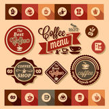 Coffee design stickers Stock Photography