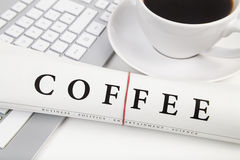 Coffee on desk Stock Images