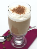 Coffee dessert. A coffee flavored mousse covered with whipping cream royalty free stock photos