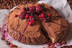 Coffee dessert with berries Stock Image