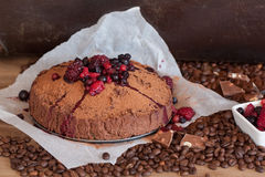 Coffee dessert with berries Royalty Free Stock Images