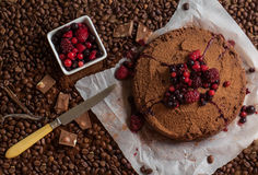 Coffee dessert with berries Royalty Free Stock Photo