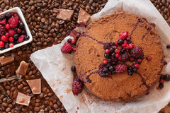 Coffee dessert with berries Stock Images