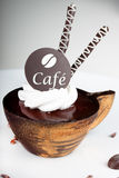 Coffee dessert with a chocolate. Stilized like a coffee cup Stock Photos