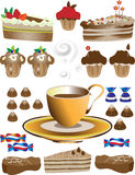 Coffee with dessert.Illustration Stock Photography