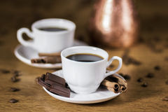 Coffee with a dessert. And spices Royalty Free Stock Photo