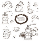 Coffee and dessert vector set illustration. Food elements isolated on white background. Grinder, cup, muffins, chocolate Stock Photos