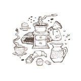 Coffee and dessert vector set illustration. Food elements located around isolated on white background. Grinder, cup Royalty Free Stock Photo