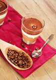 Coffee dessert on wooden background Royalty Free Stock Images